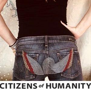 COH SZ 31 X 34 Black Denim Embroidered Pockets